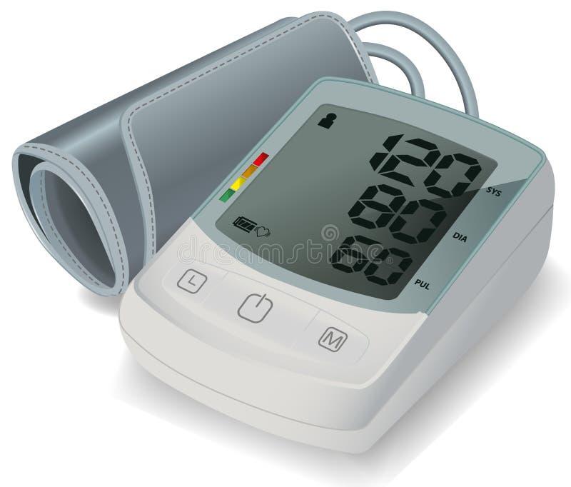 Tonometer elettronico per la misura di pressione sanguigna Monitor automatico di pressione sanguigna del braccio Concetto di sani illustrazione vettoriale