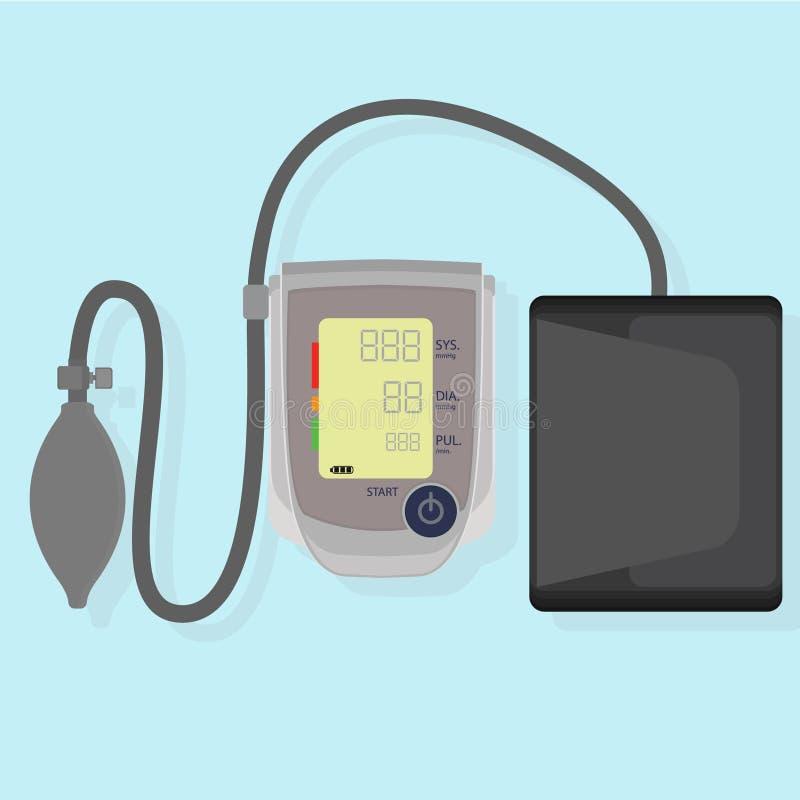 Tonometer elettronico sui precedenti blu fotografia stock libera da diritti