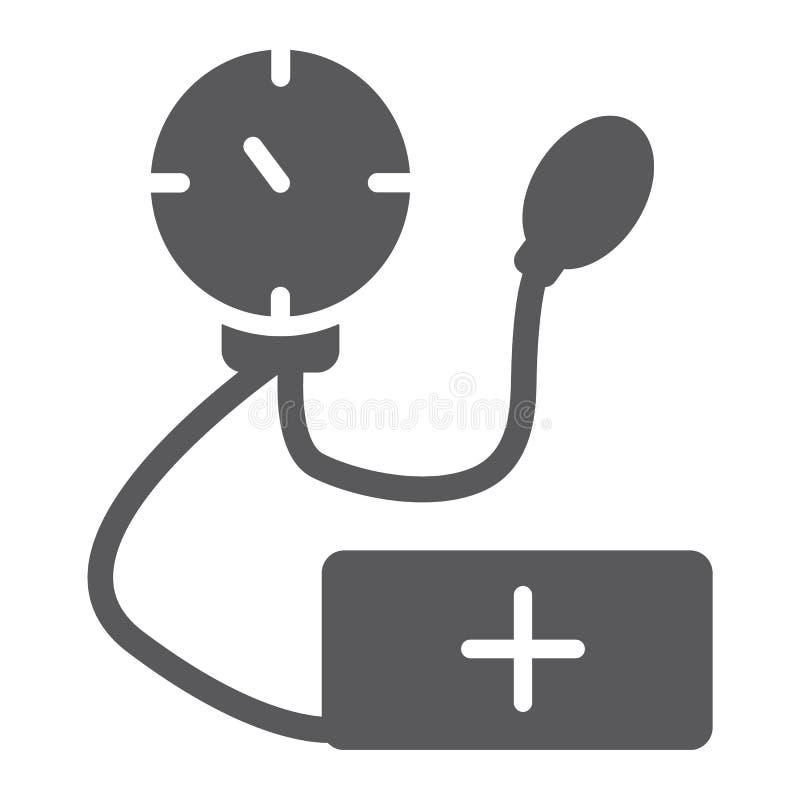 Tonometer-Glyphikone, Medizin und Gesundheit, Maßwerkzeugzeichen, Vektorgrafik, ein festes Muster auf einem weißen Hintergrund stock abbildung
