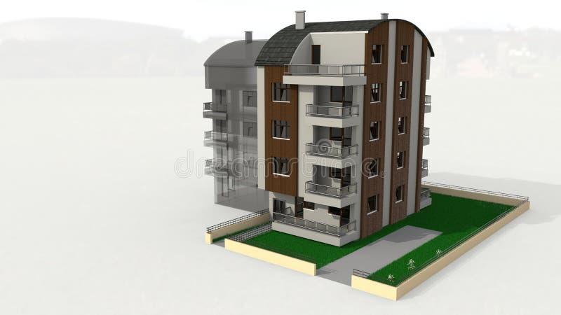 Tonos五层被顶房顶的建筑工作, 3d翻译 免版税库存照片