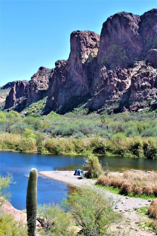 Tonto las państwowy, Solankowy Rzeczny Rekreacyjny teren, Stany Zjednoczone departament rolnictwa służby leśne, Arizona, Stany Zj obraz stock