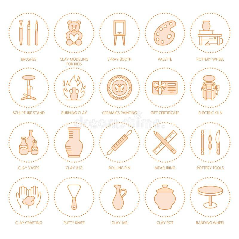 Tonwarenwerkstatt, Keramik klassifiziert Linie Ikonen Lehmstudio bearbeitet Zeichen Handgebäude, Ausrüstung gestaltend - Töpfer lizenzfreie abbildung