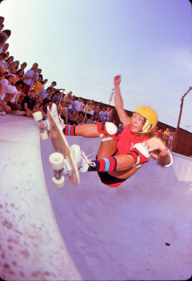 Tony Alva on the coping. Marina Del Rey Skate Park, 1978. Opening day exhibition. Tony Alva, professional skateboarder stock image