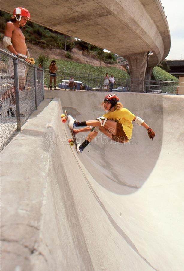 1 Tony Alva in the half pipe catching air at Oasis. 1 of 6 sequence Tony Alva catching air while riding the half pipe at Oasis Skate Park in San Diego, August stock photo