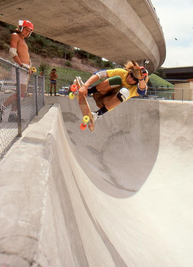 5 Tony Alva in the half pipe catching air at Oasis. 5 of 6 sequence Tony Alva catching air while riding the half pipe at Oasis Skate Park in San Diego, August stock images