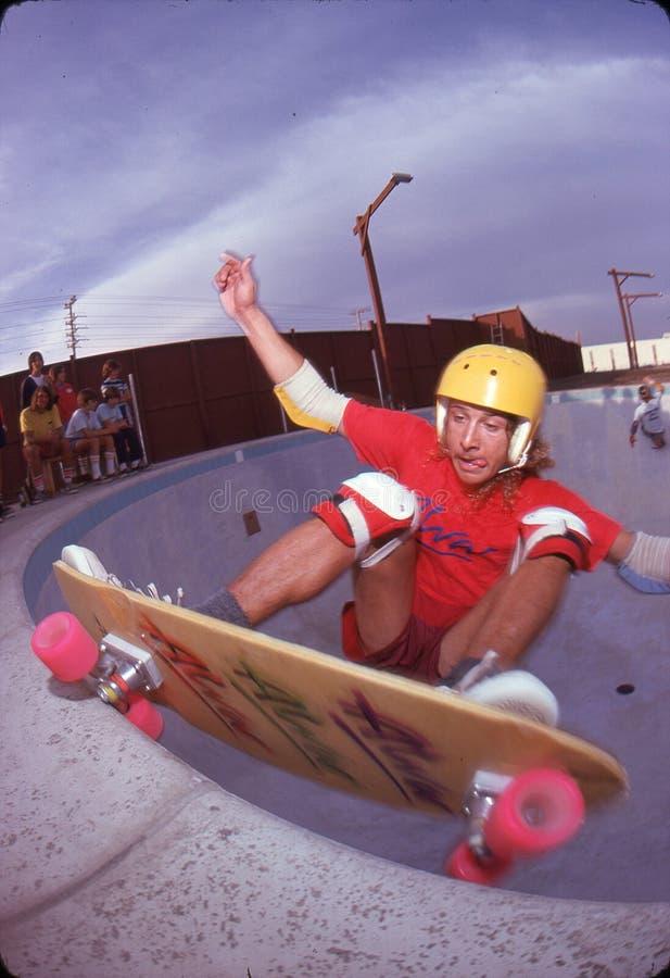 Tony Alva. Pool riding at Marina Del Rey, 1978 royalty free stock image