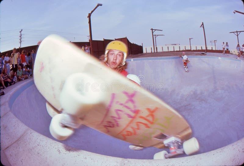 Tony Alva. Pool riding at Marina Del Rey, 1978 stock images