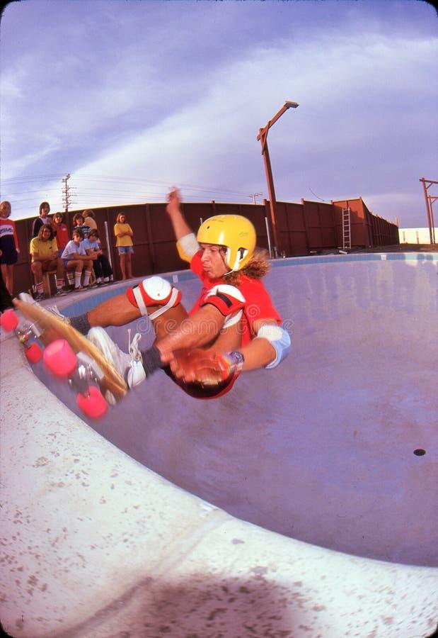 Tony Alva. Pro Skateboarder, Marina Del Rey Skate Park, 1978 royalty free stock images