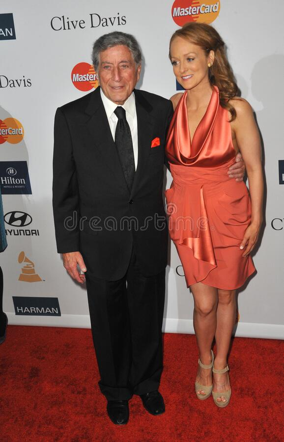 Tony Bennett & Antonia Bennett. LOS ANGELES, CA - February 11, 2012: Tony Bennett & daughter Antonia Bennett at the 2012 Clive Davis Pre-Grammy Party at the royalty free stock image
