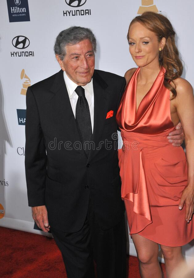 Tony Bennett & Antonia Bennett. LOS ANGELES, CA - February 11, 2012: Tony Bennett & daughter Antonia Bennett at the 2012 Clive Davis Pre-Grammy Party at the stock photos