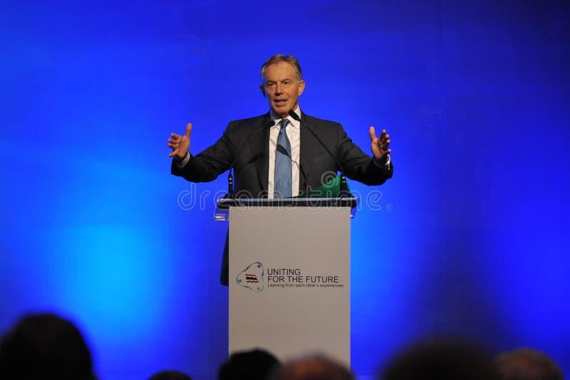 Tony Blair Speaks am thailändischen Versöhnungs-Forum stockbilder