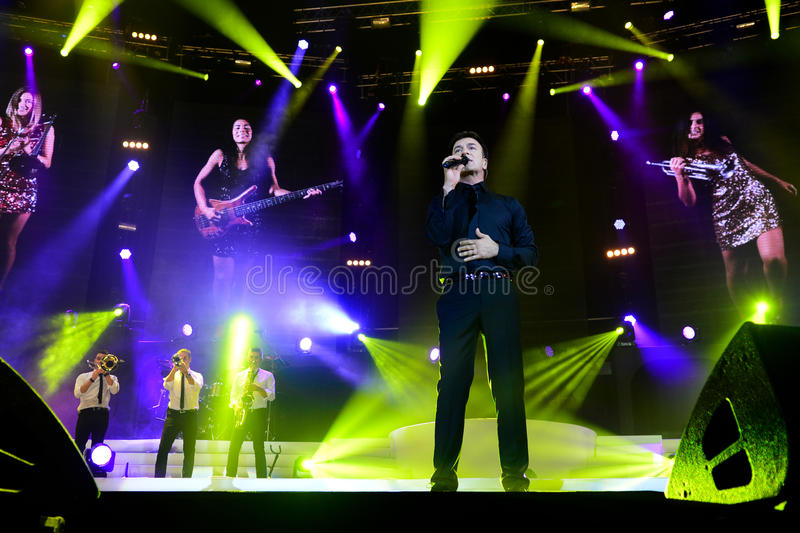 Tony Carreira on Stage, Music Concert, Spotlights, Musicians stock photo