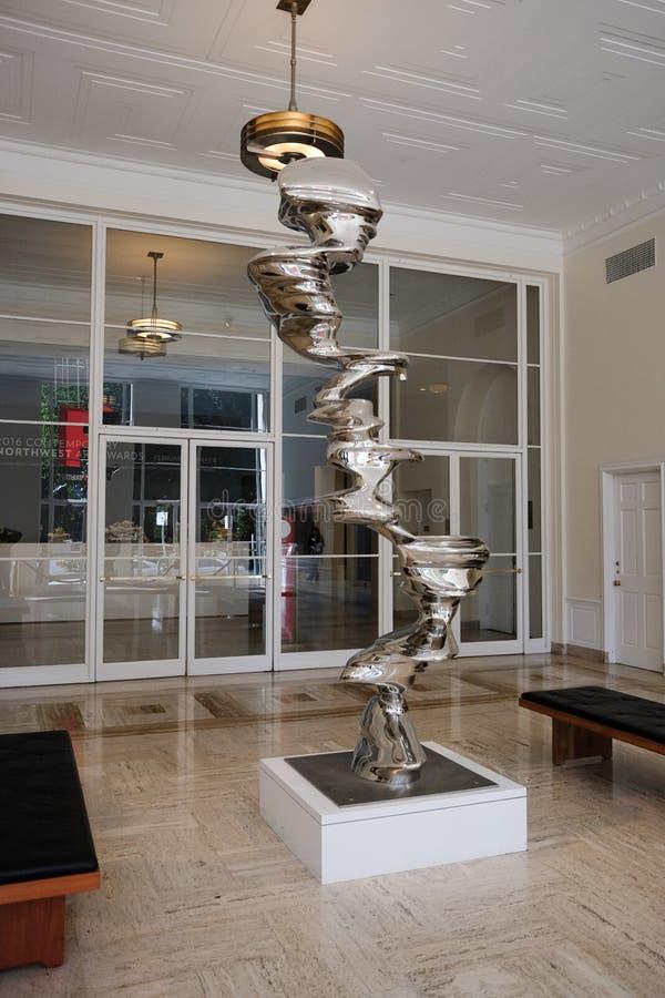 Tony Cragg rzeźba przy Portlandzkim muzeum sztuki głównym wejściem fotografia royalty free