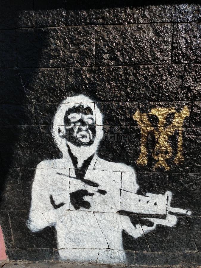 Tony Montana Graffiti fotografia de stock