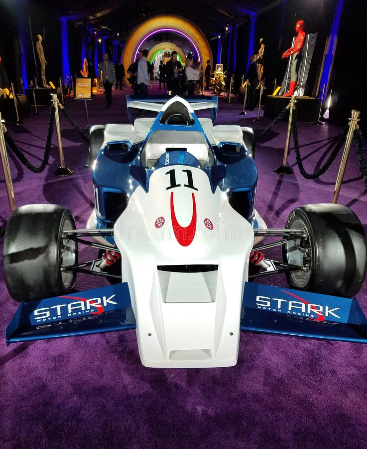 Tony Stark`s racing car. Costume exhibition at the premiere of Disney and Marvel`s `Avengers: Infinity War` held at the El Capitan Theatre in Hollywood, USA on stock photo
