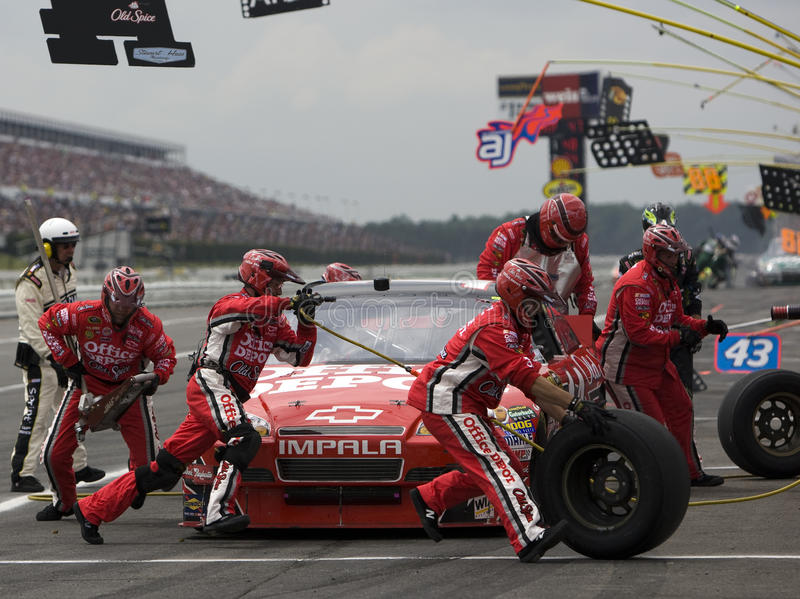 Tony Stewart comes in for a pit stop stock photo