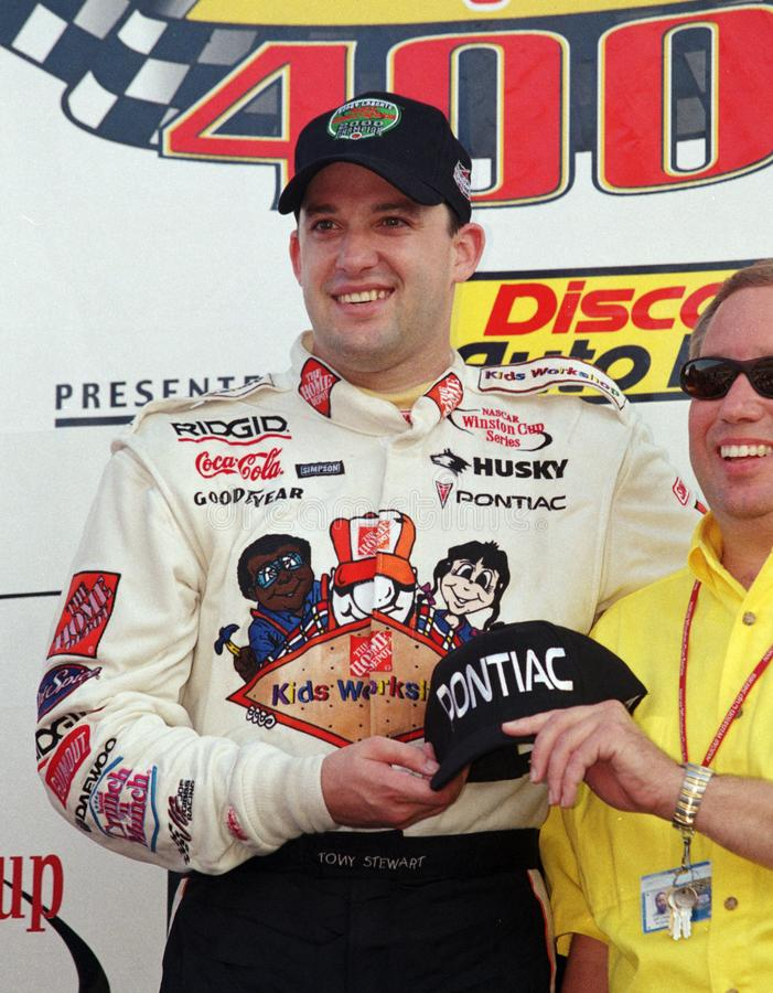 Tony Stewart Wins Penzoil 400 bij de Speedwaybaan van Hoevemiami royalty-vrije stock afbeeldingen