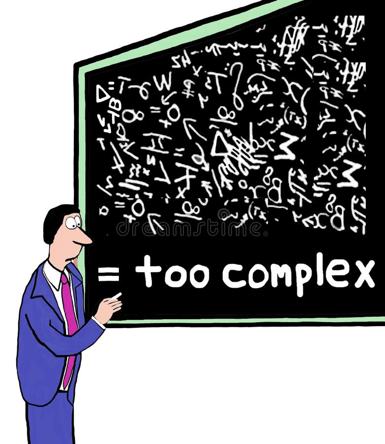 Too Complex. Cartoon of businessman at blackboard with complicated symbols and plans, it is too complex vector illustration