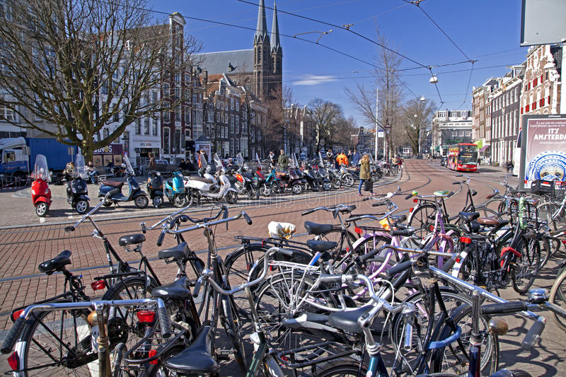 Too many bikes in Amsterdam royalty free stock photography