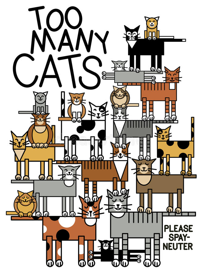 Too Many Cats. Illustration of a family of cats. Typestyle is my own creation