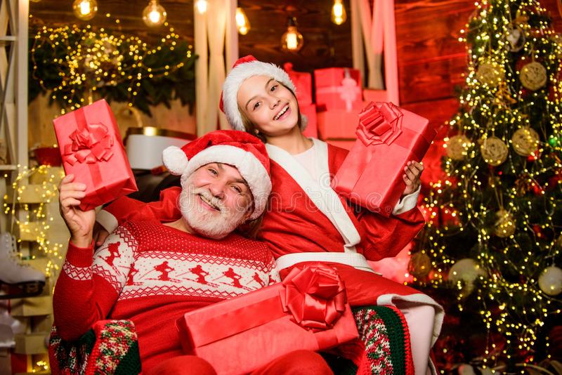 Too much happiness. xmas happiness and joy. Present for kid. father and daughter love christmas. happy new year. grandpa stock photography