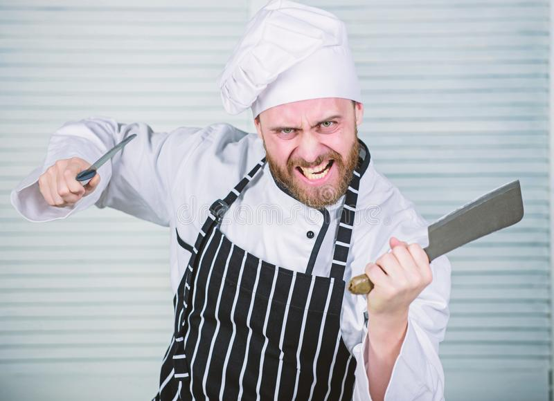Too much salt. chef ready for cooking. cook in restaurant, uniform. angry bearded man with knife. love eating food stock photos