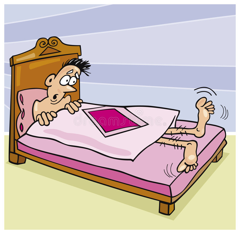 Too short quilt. Cartoon illustration of surprised man in bed with too short quilt royalty free illustration