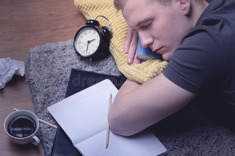 Too tired to studying the all night royalty free stock photography