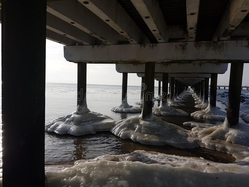 Winter in Lithuania Palanga under the bridge royalty free stock photos