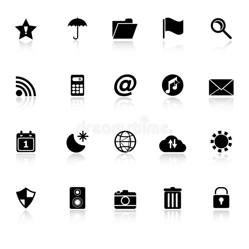 Tool bar icons with reflect on white background