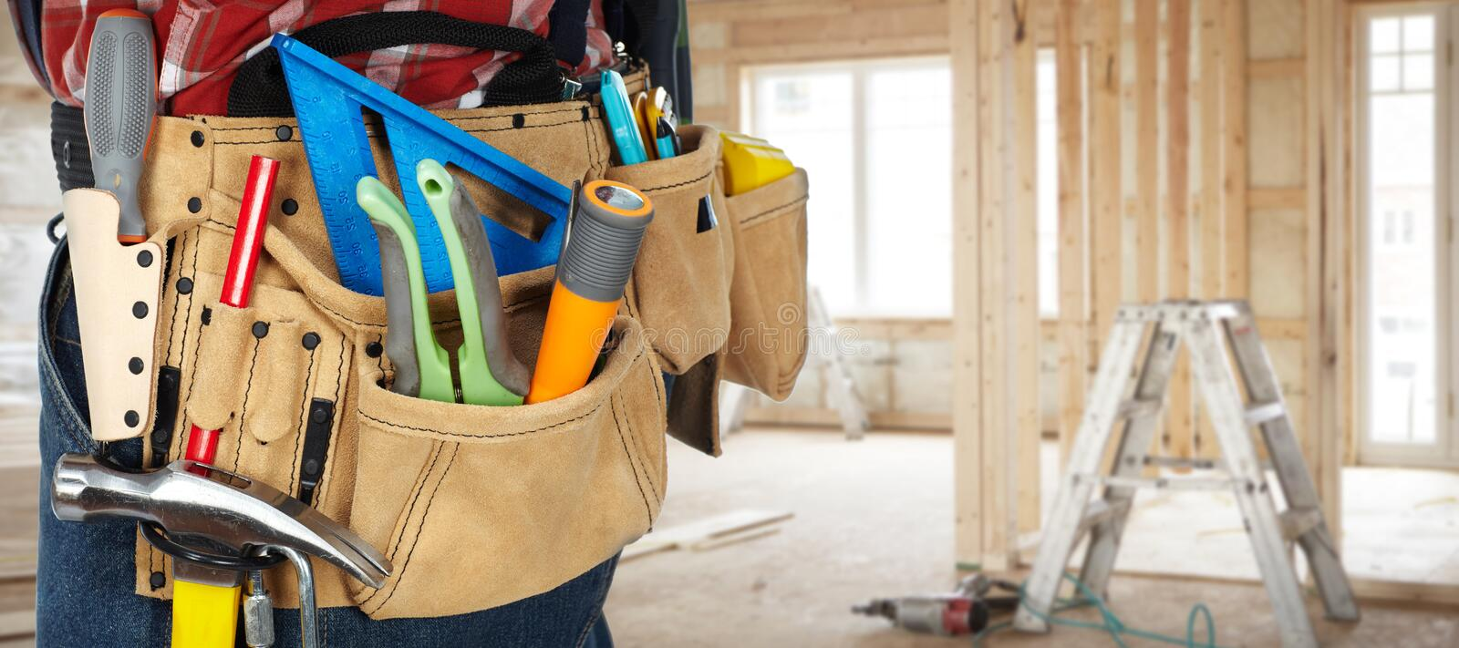Tool belt with construction tools. stock photo