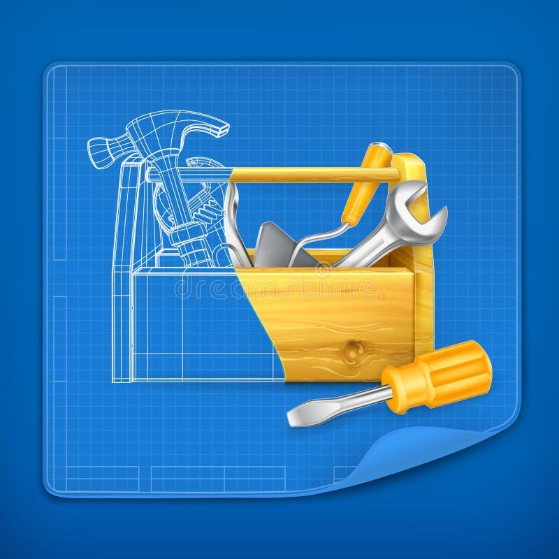 Tool box blue print stock illustration