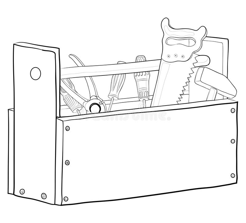 Tool box, contours. Wooden box with operating tools, , contours royalty free illustration