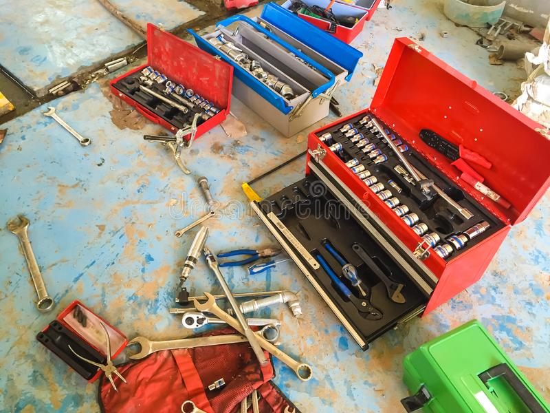 Tool box on the floor. A Tool box on the floor in Thailand factory. Industryn stock photography