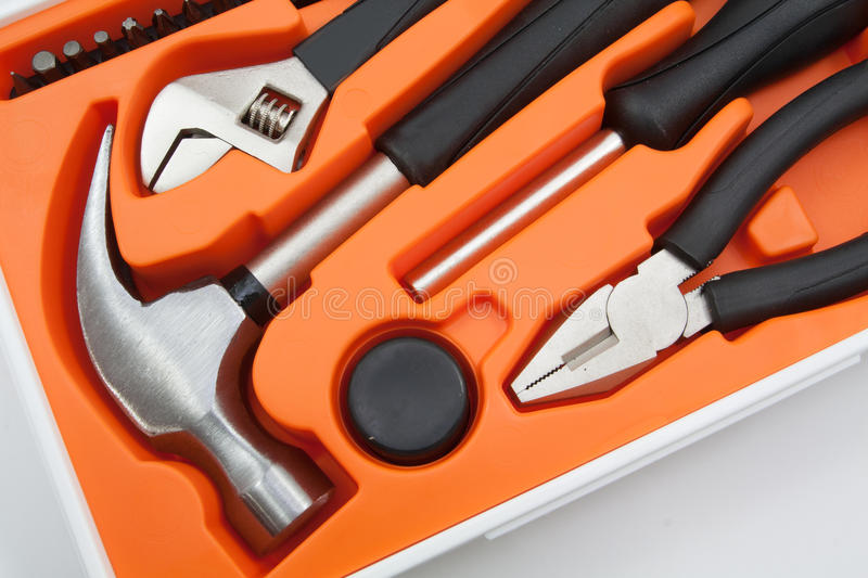 Tool Box Set. Containing a hammer, pliers, screwdriver and removable screwdriver heads stock images
