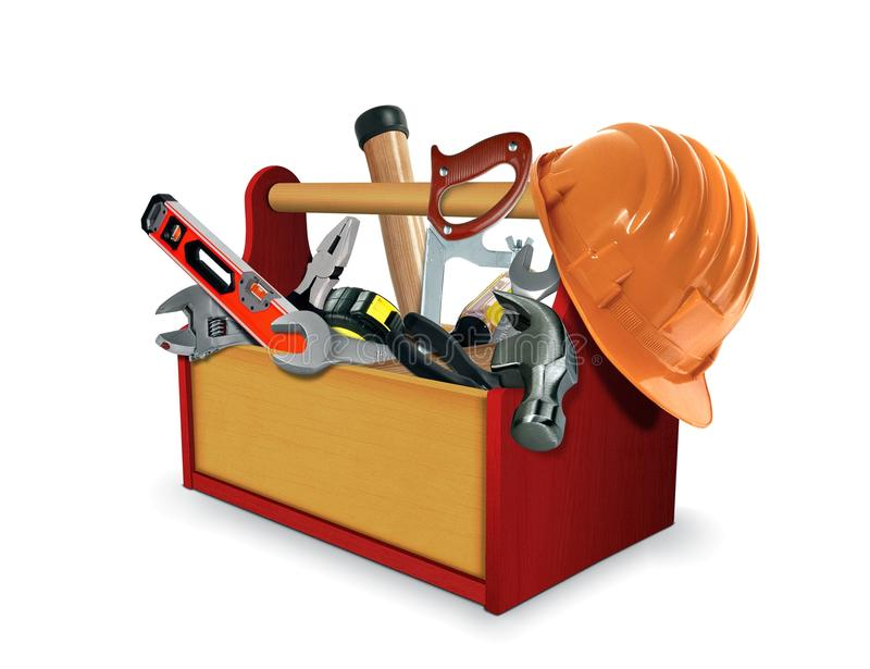 Tool Box with Tools royalty free stock photo