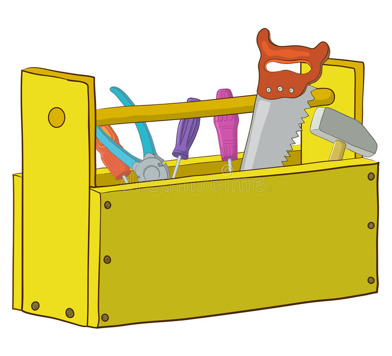 Tool box. Wooden box with operating tools, Isolated, vector stock illustration