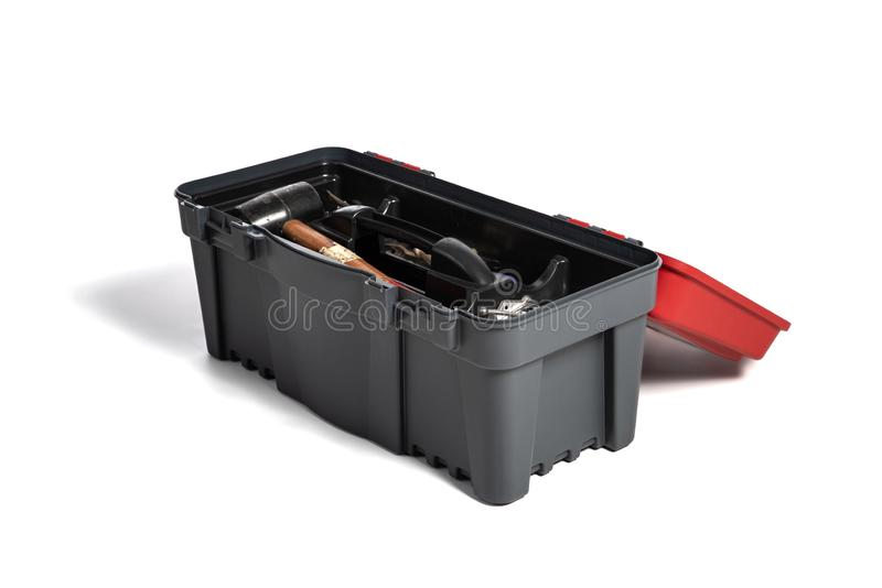 Tool box with working tools on a white background. DIY theme royalty free stock image