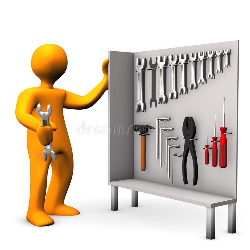 Tool Cabinet. Orange cartoon character with tool cabinet on the white background stock illustration