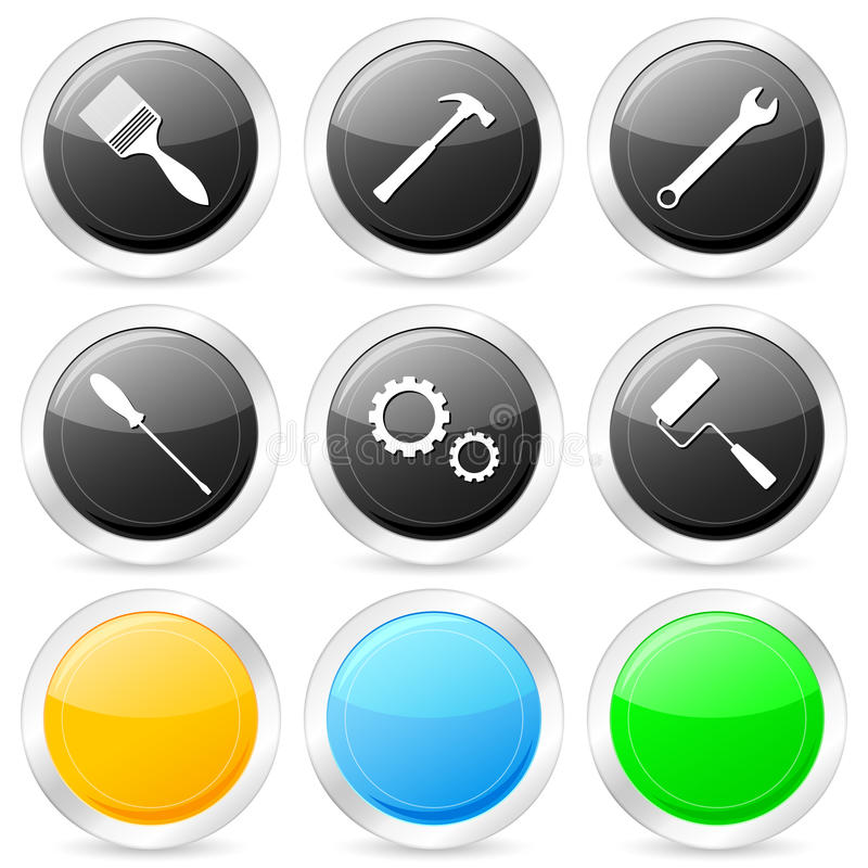 Download Tool Circle Icon Set Royalty Free Stock Photo - Image: 11836805