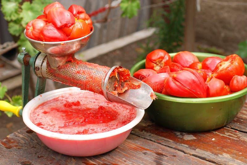Tool för framställning av tomatfruktsaft royaltyfri bild