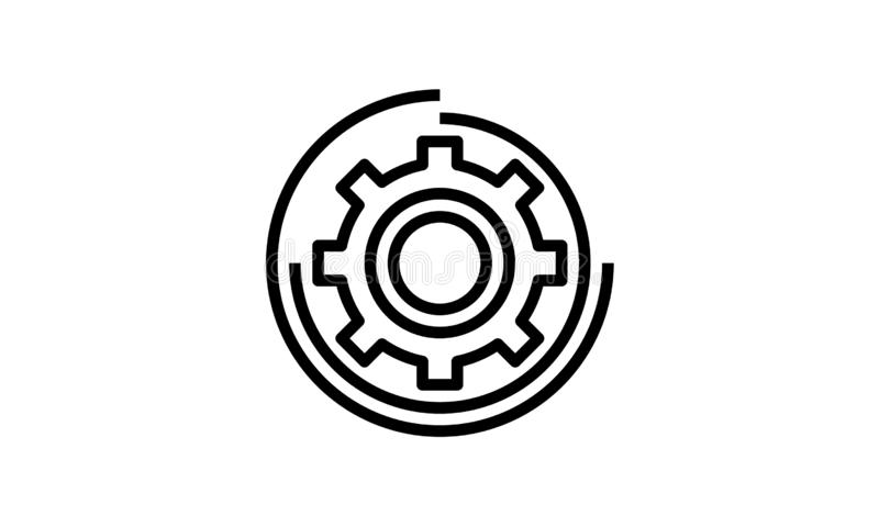 Gear icon with white background vector art royalty free illustration