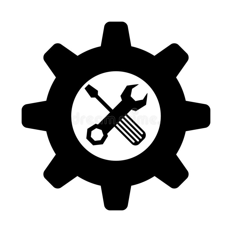 Tool icon image. Wrench with gear and screwdriver tool icon image vector illustration design royalty free illustration