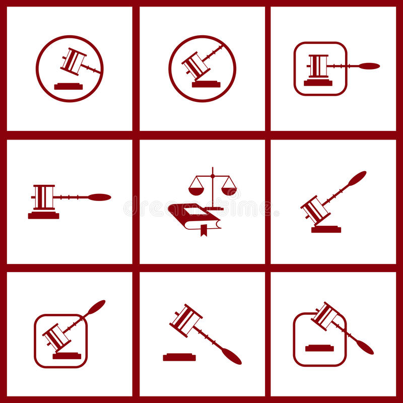 Tool of justice icons. stock illustration