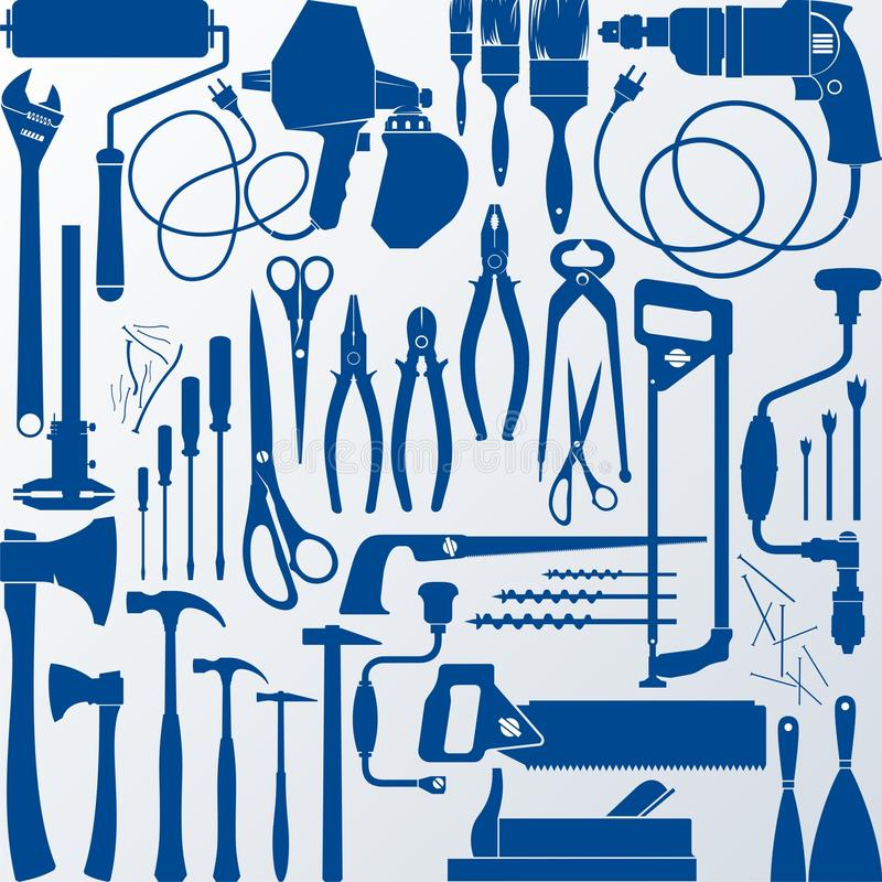 Download Tool kit stock vector. Image of handsaw, metalwork, drill - 10210666