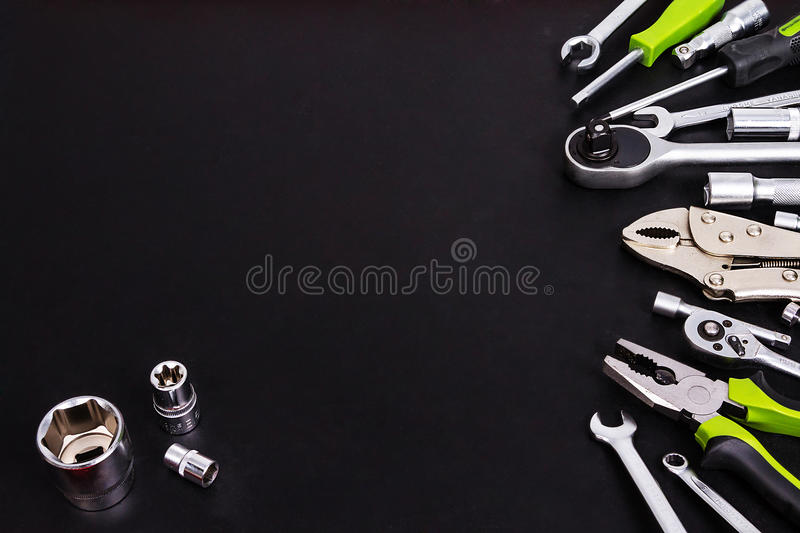 Tool kit on black background stock photography