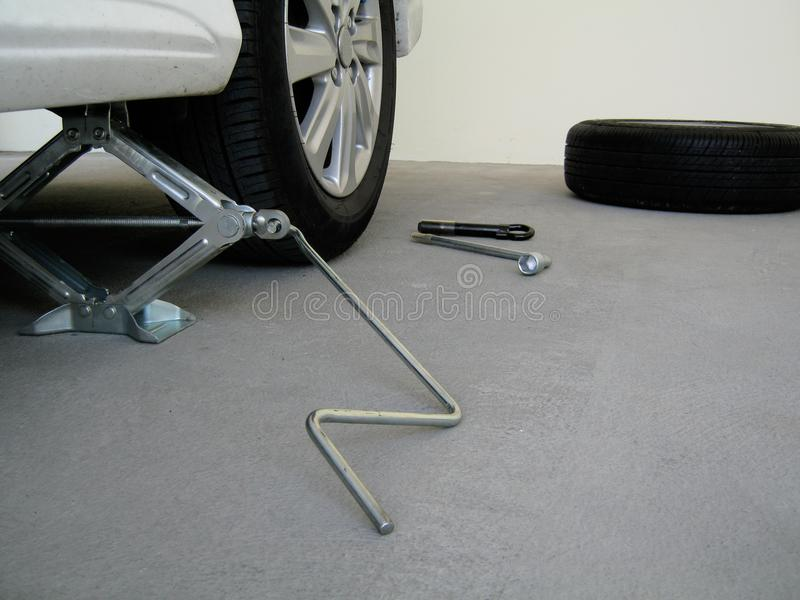 Tool kit for changing car tires. stock photo