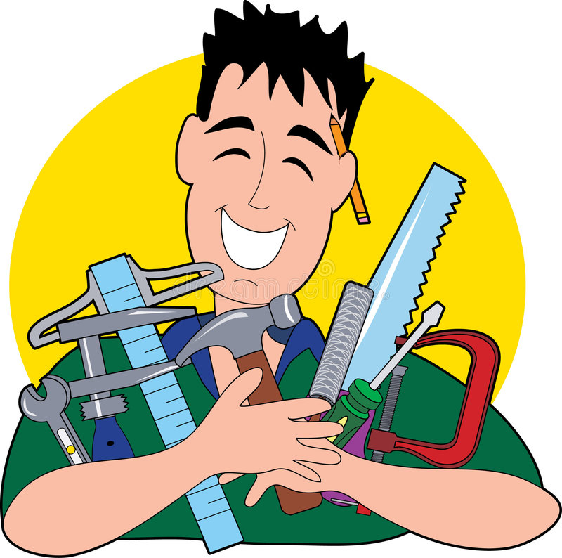The Tool Man. A happy man holding an assortment of tools royalty free illustration