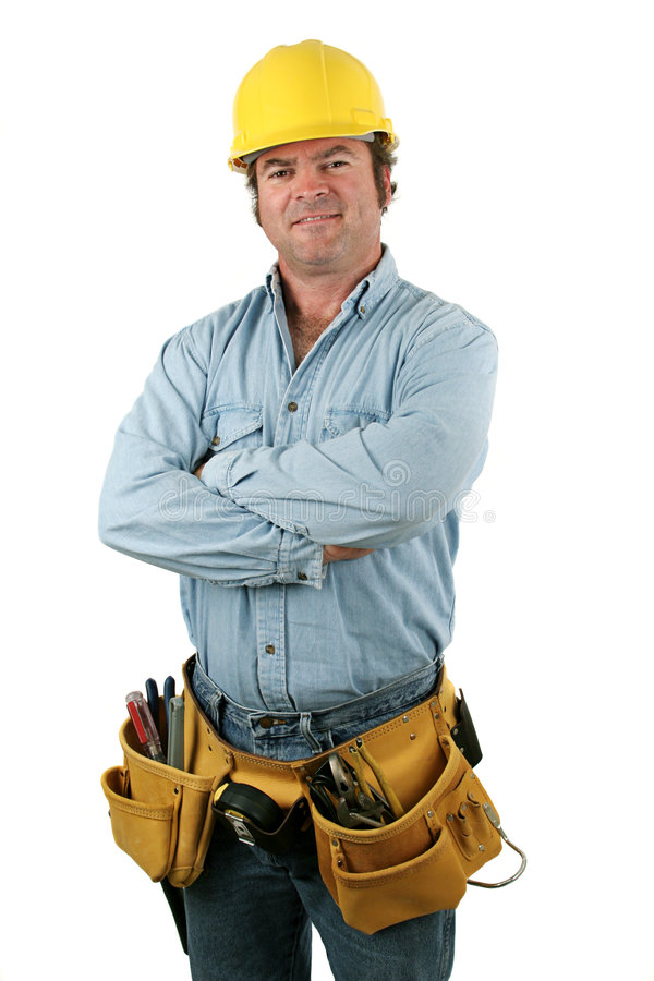 Tool Man - Friendly. A construction worker with a tool belt smiling. Isolated