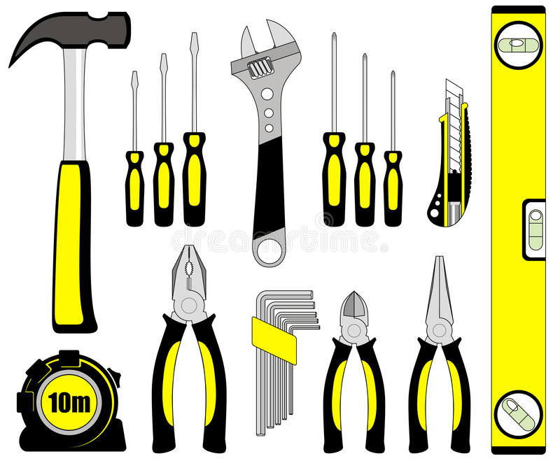 Download Tool set stock vector. Image of level, adjustable, nippers - 28119392